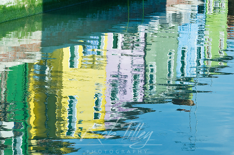 Europe, Italy, Venice, Burano, Canal Reflections