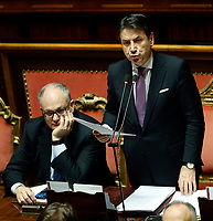Minister of Economy Roberto Gualtieri and Giuseppe Conte<br /> Rome December 11th 2019. Discussion and vote about MES, European Stability Mechanism.<br /> Foto Samantha Zucchi Insidefoto