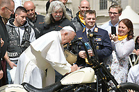 BNPS.co.uk (01202 558833)<br /> Pic: Bonhams/BNPS<br /> <br /> Pope Francis signs the tasteful crown of thorns gas tank....<br /> <br /> Holy Davidson - They may be a symbol of the Hells Angels movement but a Harley Davidson hand signed by the Pope has emerged for sale for £100,000.<br /> <br /> The 1,570cc 'holy Davidson' was built in 2016 having been commissioned by Dr Thomas Draxler, founder of the 'Jesus Bikers' group in Austria.<br /> <br /> It has spent its life with the group before it was taken to the Vatican and donated to the Papacy in July this year.
