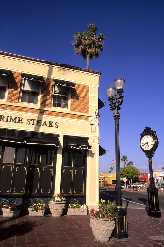 Beautiful tourist town downtown by pier of Newport Beach California US