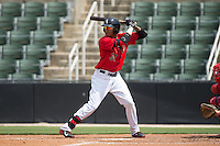 James Baldwin (37) of the Kannapolis Intimidators at bat against the Lakewood BlueClaws at CMC-Northeast Stadium on May 17, 2015 in Kannapolis, North Carolina.  The Intimidators defeated the BlueClaws 4-1.  (Brian Westerholt/Four Seam Images)