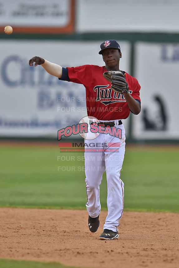 Elizabethton Twins shortstop Nick Gordon #9 fields and throws to first during a game against the  Bristol Pirates at Joe O'Brien Field June 30, 2014 in Elizabethton, Tennessee. The Twins defeated the Pirates 8-5 in game one of a double header. (Tony Farlow/Four Seam Images)