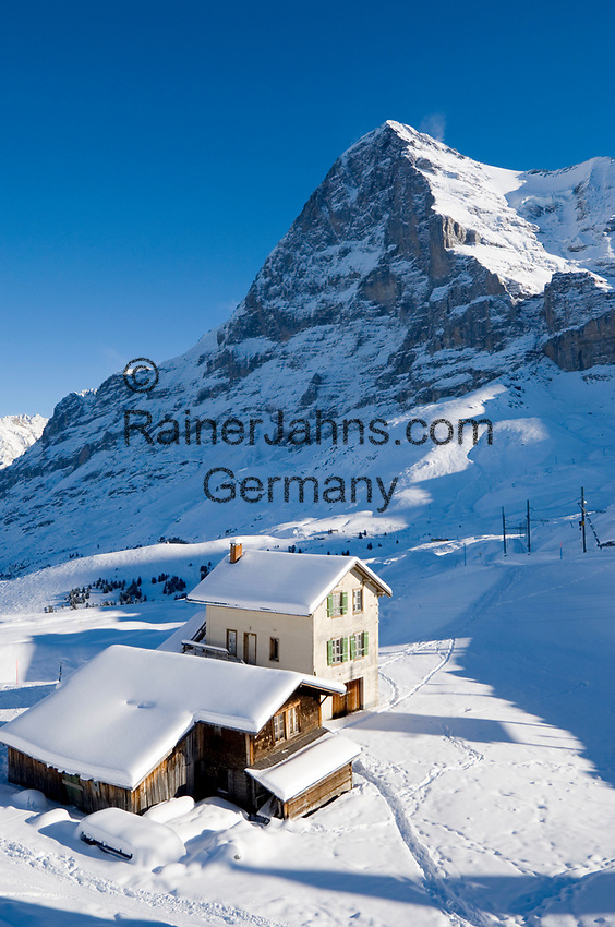 CHE, Schweiz, Kanton Bern, Berner Oberland, Grindelwald: Kleine Scheidegg - Almhaus + Almhuette vorm Eiger (3.970 m) | CHE, Switzerland, Canton Bern, Bernese Oberland, Grindelwald: Kleine Scheidegg - alpine pasture hut + house with Eiger mountain