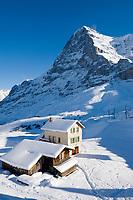 CHE, Schweiz, Kanton Bern, Berner Oberland, Grindelwald: Kleine Scheidegg - Almhaus + Almhuette vorm Eiger (3.970 m)   CHE, Switzerland, Canton Bern, Bernese Oberland, Grindelwald: Kleine Scheidegg - alpine pasture hut + house with Eiger mountain