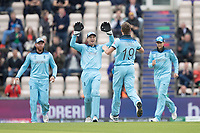 Chris Wakes (England) celebrates the wicket of Evin Lewis (West Indies) during England vs West Indies, ICC World Cup Cricket at the Hampshire Bowl on 14th June 2019