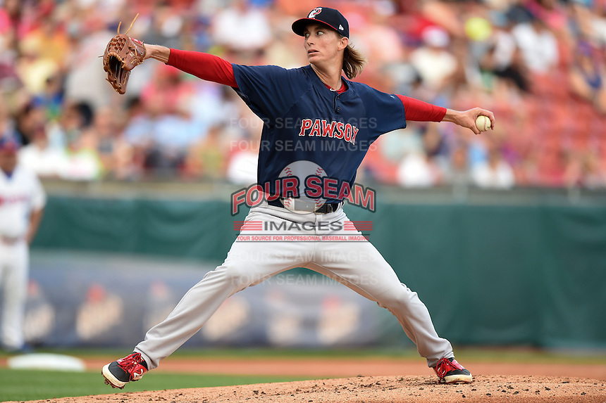 Pawtucket Red Sox pitcher Henry Owens (37) delivers a pitch during a game against the Buffalo Bisons on August 26, 2014 at Coca-Cola Field in Buffalo, New  York.  Pawtucket defeated Buffalo 9-3.  (Mike Janes/Four Seam Images)