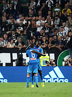 Calcio, Serie A: Juventus - Napoli, Torino, Allianz Stadium, 22 aprile, 2018.<br /> Napoli's Kalidou Koulibaly celebrates after scoring with his teammate Jorginho during the Italian Serie A football match between Juventus and Napoli at Torino's Allianz stadium, April 22, 2018.<br /> UPDATE IMAGES PRESS/Isabella Bonotto