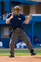 Home plate umpire Tyler Wolpert calls a batter out on strikes during an Appalachian League game between the Pulaski Mariners and the Burlington Royals at Burlington Athletic Park August 6, 2009 in Burlington, North Carolina. (Photo by Brian Westerholt / Four Seam Images)