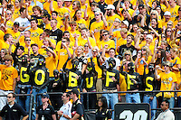 06 September 08: Colorado fans display their support for the Buffaloes during a game against Eastern Washington. The Colorado Buffaloes defeated the Eastern Washington Eagles 31-24 at Folsom Field in Boulder, Colorado. FOR EDITORIAL USE ONLY