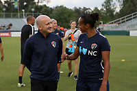 Cary, NC - Saturday April 22, 2017: Paul Riley, Rosana prior to a regular season National Women's Soccer League (NWSL) match between the North Carolina Courage and the Portland Thorns FC at Sahlen's Stadium at WakeMed Soccer Park.
