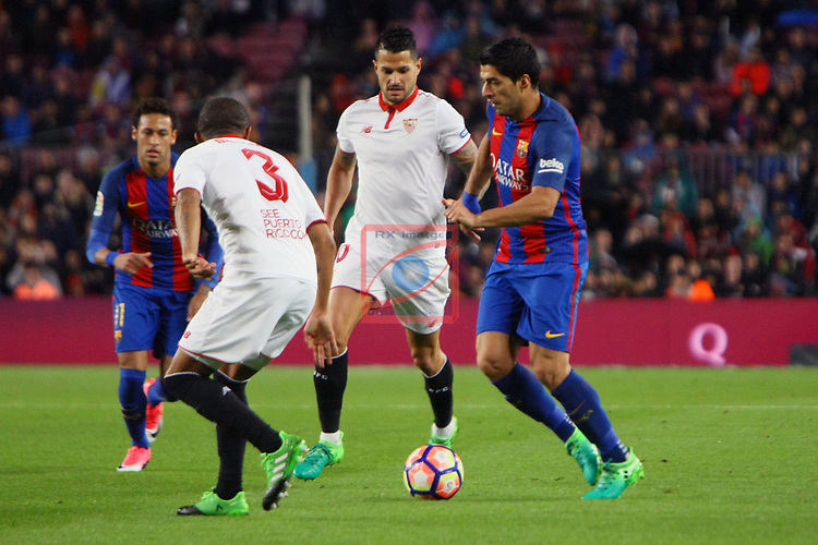League Santander 2016/2017. Game: 30.<br /> FC Barcelona vs Sevilla FC: 3-0.<br /> Mariano, Vitolo &amp; Luis Suarez.