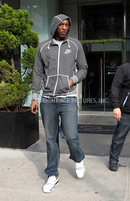 WWW.ACEPIXS.COM . . . . .  ....April 25 2012, New York City....Lamar Odom leaves his downtown hotel on April 25 2012 in New York City....Please byline: CURTIS MEANS - ACE PICTURES.... *** ***..Ace Pictures, Inc:  ..Philip Vaughan (212) 243-8787 or (646) 769 0430..e-mail: info@acepixs.com..web: http://www.acepixs.com