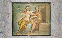 Roman Erotic Fresco from Pompeii depicting Mars caressing Venus, Naples National Archaeological Museum - 1st century AD