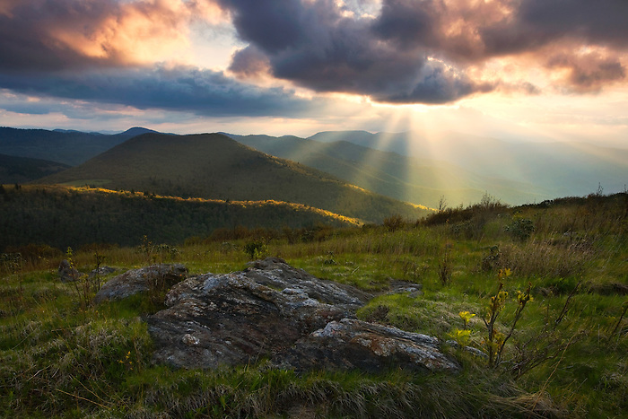 """APPALACHIAN LIGHT"" -- Crepuscular rays break through storm clouds near Black Balsam Knob along the Blue Ridge Parkway."
