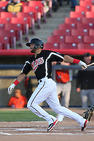 Zach Cone (22) of the High Desert Mavericks bats during a game against the Inland Empire 66ers at Mavericks Stadium on May 6, 2015 in Adelanto, California. Inland Empire defeated High Desert, 10-4. (Larry Goren/Four Seam Images)