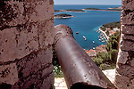 Croatia, Hvar, Hvar Island, Dalmatian Islands, historic Spanish fortress overlooks Venetian harbor, yachts, Adriatic Sea, Europe,.