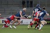 24th March 2018, AJ Bell Stadium, Salford, England; Aviva Premiership rugby, Sale Sharks versus Worcester Warriors; WillGriff John passes the ball to Josh Strauss of Sale Sharks