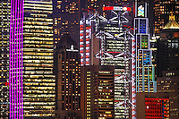 Lighted skyscrapers in Hong Kong skyline, Hong Kong SAR, China, Asia