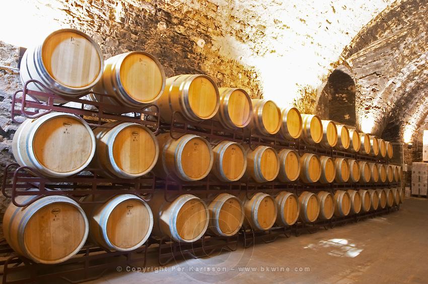 Oak barrel aging and fermentation cellar. Scala Dei, Priorato, Catalonia, Spain