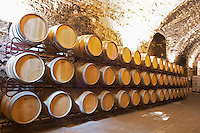 Oak barrel aging and fermentation cellar. Scala Dei, Priorato, Catalonia, Spain