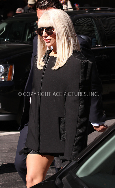 WWW.ACEPIXS.COM<br /> <br /> <br /> September 9, 2013, New York City, NY.<br /> <br /> Lady Gaga out and about in New York City, NY on September 9, 2013.<br /> <br /> <br /> <br /> <br /> By Line: Zelig Shaul/ACE Pictures<br /> <br /> ACE Pictures, Inc<br /> Tel: 646 769 0430<br /> Email: info@acepixs.com