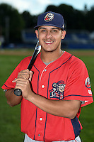 Williamsport Crosscutters shortstop Emmanuel Marrero (18) poses for a photo before a game against the Batavia Muckdogs on August 25, 2014 at Dwyer Stadium in Batavia, New York.  Batavia defeated Williamsport 3-0.  (Mike Janes/Four Seam Images)