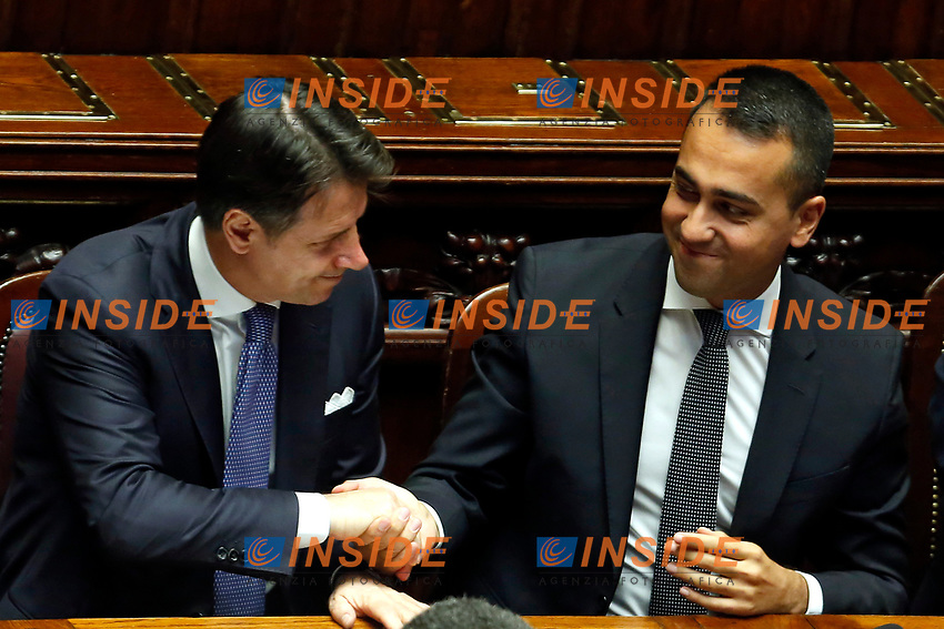 Giuseppe Conte and Luigi Di Maio shaking hand<br /> Rome September 9th 2019. Lower Chamber. Programmatic speech of the new appointed Italian Premier at the Chamber of Deputies to explain the program of the yellow-red executive. After his speech the Chamber is called to the trust vote at the new Government. <br /> Foto  Samantha Zucchi Insidefoto