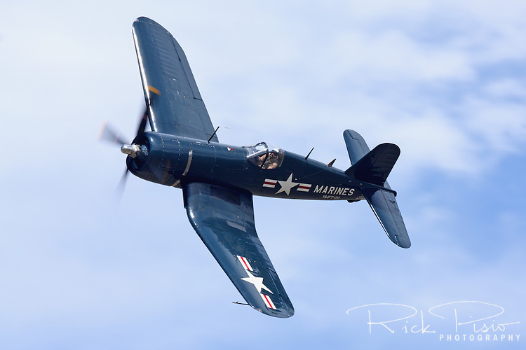 Chance-Vought F4U Corsair in flight during the 2010 Pylon Racing School at Stead Field near Reno, Nevada.