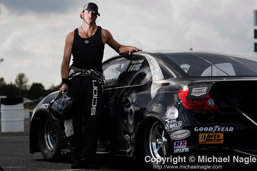 ENGLISHTOWN, NJ - OCTOBER 01, 2006: Chris Rado poses for a portrait after drag racing his Scion TC at the Old Bridge Township Raceway Park on October 10, 2006 in Englishtown, NJ. (Photograph by Michael Nagle)
