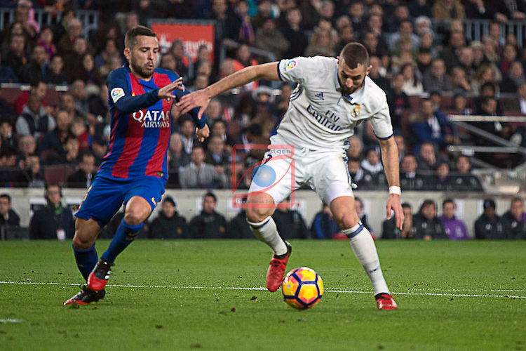 League Santander 2016/2017. Game: 14.<br /> FC Barcelona vs Real Madrid: 1-1.<br /> Jordi Alba vs Benzema.