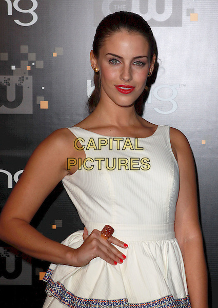 Jessica Lowndes.Bing Presents The CW Premiere Party for the New Fall Season Show Lineup held at Warner Bros Studio Lot, Burbank, California, USA..September 10th, 2011.half length white sleeveless dress blue embroidered trim hand on hip orange ring red nail varnish polish pink lipstick .CAP/ADM/CH.©Charles Harris/AdMedia/Capital Pictures