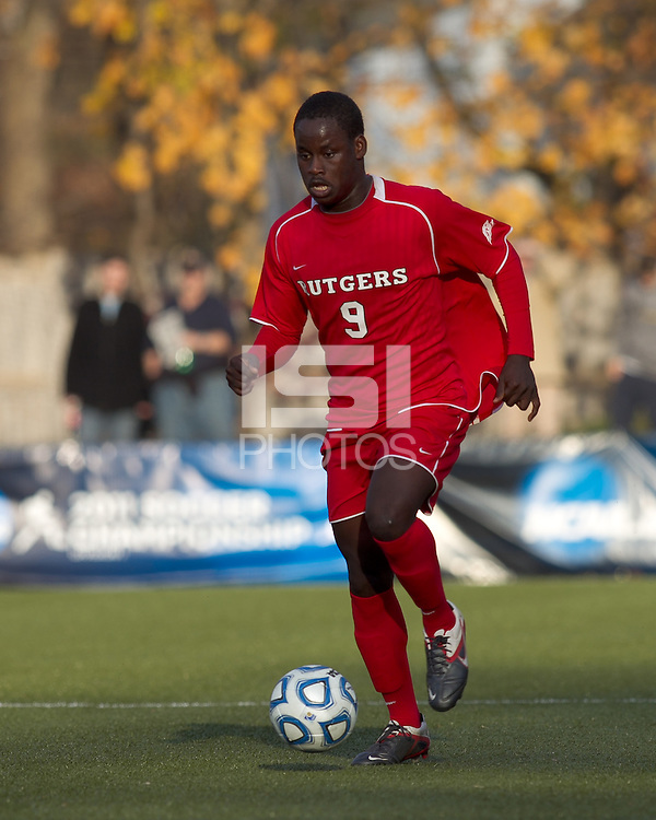 Rutgers University forward Ibrahim Kamara (9) brings the ball forward.  Rutgers University defeated Boston College in penalty kicks after two overtime periods in NCAA Division I tournament action, at Newton Campus Field, November 20, 2011.