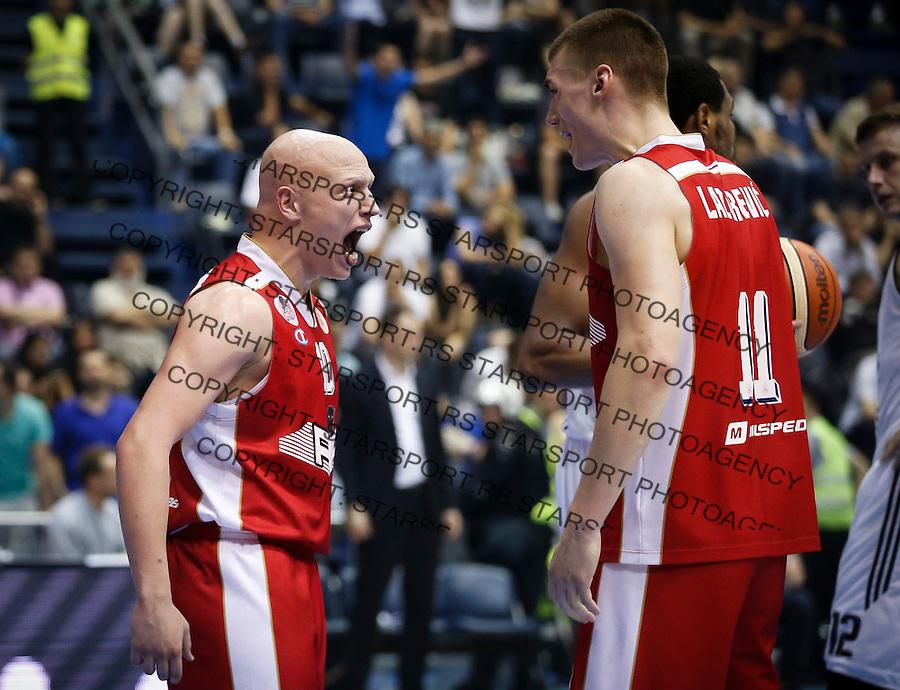 Kosarka Kosarkaska Liga Srbije Play-Off Polufinale semifinals season 2015-2016 <br /> Partizan v FMP<br /> Ilija Djokovic (L)  celebrate with the Stefan Lazarevic<br /> Belgrade, 06.01.2016.<br /> foto: Srdjan Stevanovic/Starsportphoto &copy;