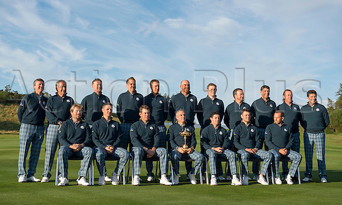 23.09.2014. Gleneagles, Auchterarder, Perthshire, Scotland.  The Ryder Cup.  Paul McGinley European Team Captain with his vice captains and Team Europe pose with the Ryder Cup,  during the Team Europe photo call. Players shown Thomas Bjorn, Jamie Donaldson, Victor Dubuisson, Sergio Garcia, Martin Kaymer, Graeme McDowell, Rory McIlroy, Justin Rose, Henrik Stenson, Lee Westwood, Stephen Gallacher, Ian Poulter