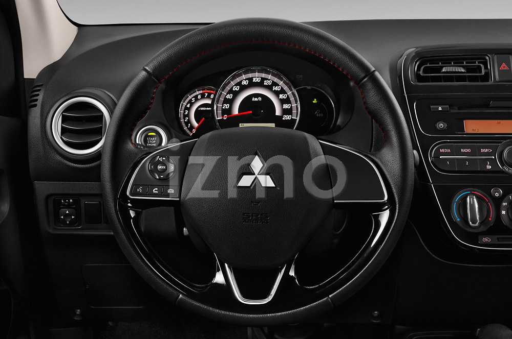 Car pictures of steering wheel view of a 2019 Mitsubishi Space-Star Black-Collection 5 Door Hatchback Steering Wheel