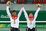 (L-R)<br /> Shingo Kunieda,<br /> Satoshi Saida (JPN),<br /> SEPTEMBER 15, 2016 - Wheelchair Tennis : <br /> Men's Doubles Medal Ceremony<br /> at Olympic Tennis Centre<br /> during the Rio 2016 Paralympic Games in Rio de Janeiro, Brazil.<br /> (Photo by Shingo Ito/AFLO)