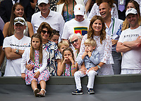 Mira Federer and family look on as Roger is interviewed by Sue Barker after his victory over Marin Cilic<br /> <br /> Photographer Ashley Western/CameraSport<br /> <br /> Wimbledon Lawn Tennis Championships - Day 13 - Sunday 16th July 2017 -  All England Lawn Tennis and Croquet Club - Wimbledon - London - England<br /> <br /> World Copyright &not;&copy; 2017 CameraSport. All rights reserved. 43 Linden Ave. Countesthorpe. Leicester. England. LE8 5PG - Tel: +44 (0) 116 277 4147 - admin@camerasport.com - www.camerasport.com