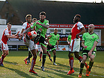 David Edgar of Sheffield Utd challenges Victor Nirennold of Fleetwood Town  at a corner - English League One - Fleetwood Town vs Sheffield Utd - Highbury Stadium - Fleetwood - England - 5rd March 2016 - Picture Simon Bellis/Sportimage