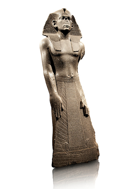 12 dynasty Egyptian statue of king Amenemhet III praying. 1840-1800 BC, Memphis. Neues Reiche Museum, Berlin. Cat No AM1121