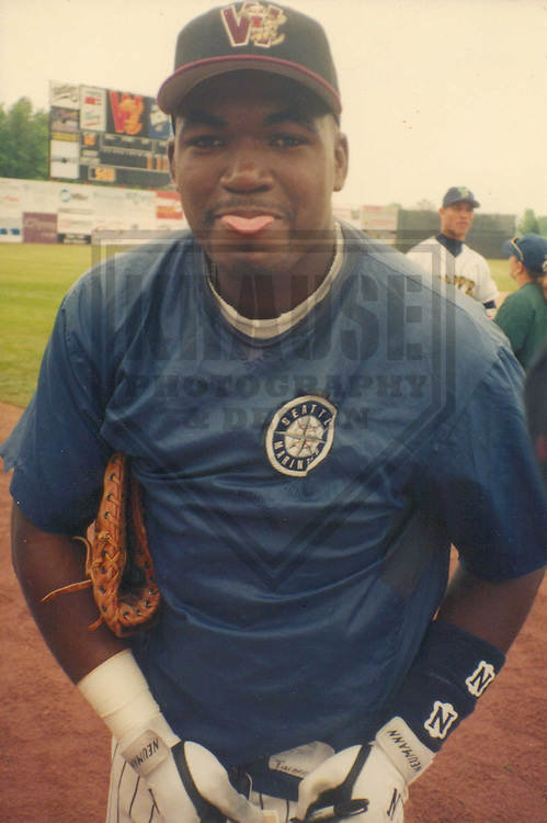 APPLETON - JUNE 1996: David (Arias) Ortiz of the Wisconsin Timber Rattlers, Class A affiliate of the Seattle Mariners signs autographs prior to the Midwest League All-Star game in June, 1996 at Fox Cities Stadium in Appleton, Wisconsin. (Photo by Brad Krause)