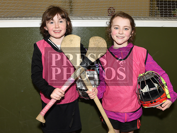 Erin May McCabe and Sorcha Magee who took part in the Camogie tournament at Drogheda Leisure Centre. Photo:Colin Bell/pressphotos.ie