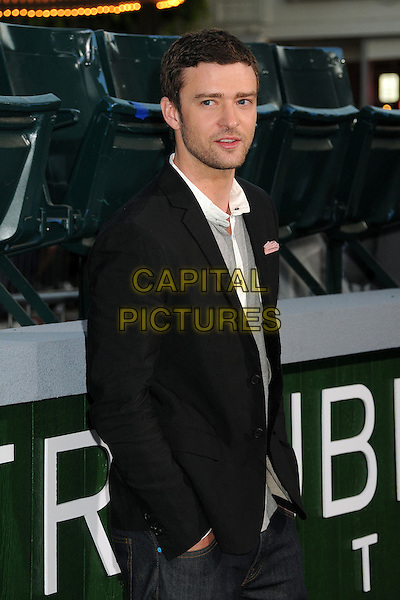 "Justin Timberlake.""Trouble With The Curve"" Los Angeles Premiere held at the Regency Village Theatre, Westwood, California, USA..September 19th, 2012.half length top suit jacket hand in pocket black grey gray white stubble facial hair    .CAP/ADM/BP.©Byron Purvis/AdMedia/Capital Pictures."