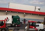 Heavy goods freight vehicles disembarkation from Stena Lines ferry, Hook of Holland, Netherlands