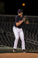 AZL Indians 1 relief pitcher Kellen Rholl (50) prepares to deliver a pitch during an Arizona League game against the AZL White Sox at Goodyear Ballpark on June 20, 2018 in Goodyear, Arizona. AZL Indians 1 defeated AZL White Sox 8-7. (Zachary Lucy/Four Seam Images)