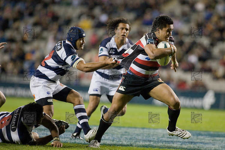 Sam Tuitupou holds Male Sa'u back as he almost breaks through the Auckland line. Air New Zealand Cup rugby game between Auckland & Counties Manukau, played at Eden Park on the 28th of July 2007. Auckland won 39 - 5.