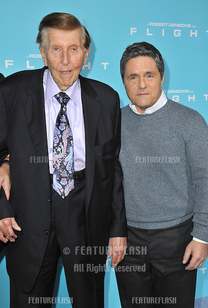 "Viacom boss Sumner Redstone (left) & Paramount Pictures boss Brad Grey at the Los Angeles premiere of ""Flight"" at the Cinerama Dome, Hollywood..October 23, 2012  Los Angeles, CA.Picture: Paul Smith / Featureflash"