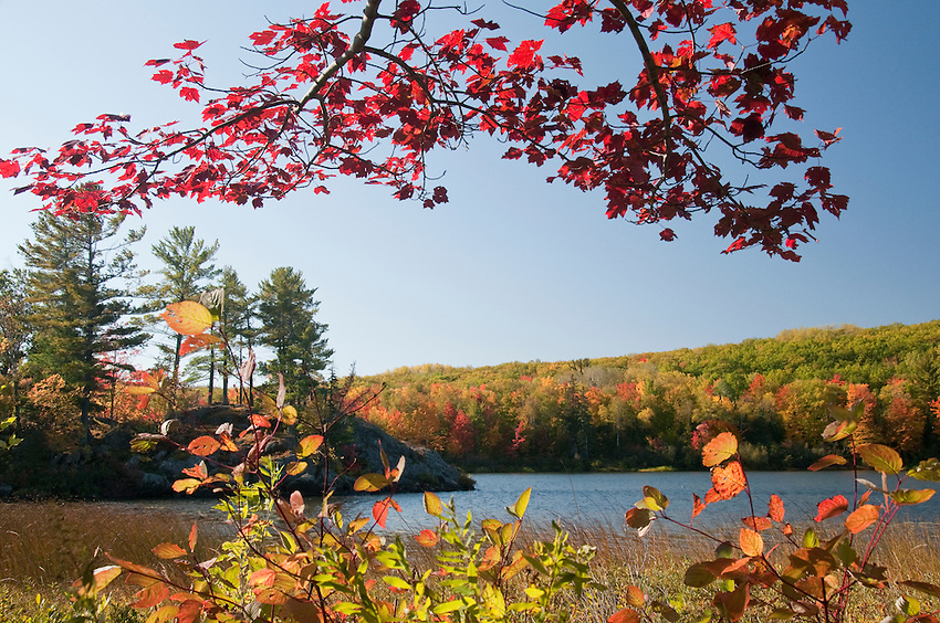 A lake surrounded by fall color in autumn in Michigans Upper Peninsula.