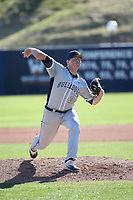 Mark Reece (38) of the Fresno State Bulldogs pitches against the Pepperdine Waves at Eddy D. Field Stadium on March 7, 2017 in Los Angeles, California. Pepperdine defeated Fresno State, 8-7. (Larry Goren/Four Seam Images)
