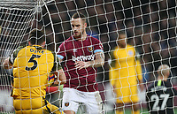 West Ham United's Marko Arnautovic pushes Brighton &amp; Hove Albion's Lewis Dunk into the net trying to retrieve the ball after scoring the first of his two goals <br /> <br /> Photographer Rob Newell/CameraSport<br /> <br /> The Premier League - West Ham United v Brighton and Hove Albion - Wednesday 2nd January 2019 - London Stadium - London<br /> <br /> World Copyright &copy; 2019 CameraSport. All rights reserved. 43 Linden Ave. Countesthorpe. Leicester. England. LE8 5PG - Tel: +44 (0) 116 277 4147 - admin@camerasport.com - www.camerasport.com