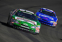 Oct. 10, 2009; Fontana, CA, USA; NASCAR Nationwide Series driver Mike Wallace leads Kevin Conway during the Copart 300 at Auto Club Speedway. Mandatory Credit: Mark J. Rebilas-